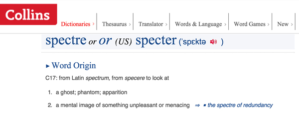 Spectre word origin